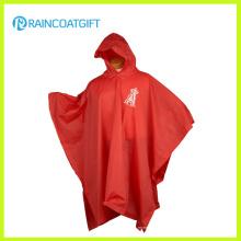 Poncho vermelho impresso logotipo do PVC do tipo feito sob encomenda para a promoção