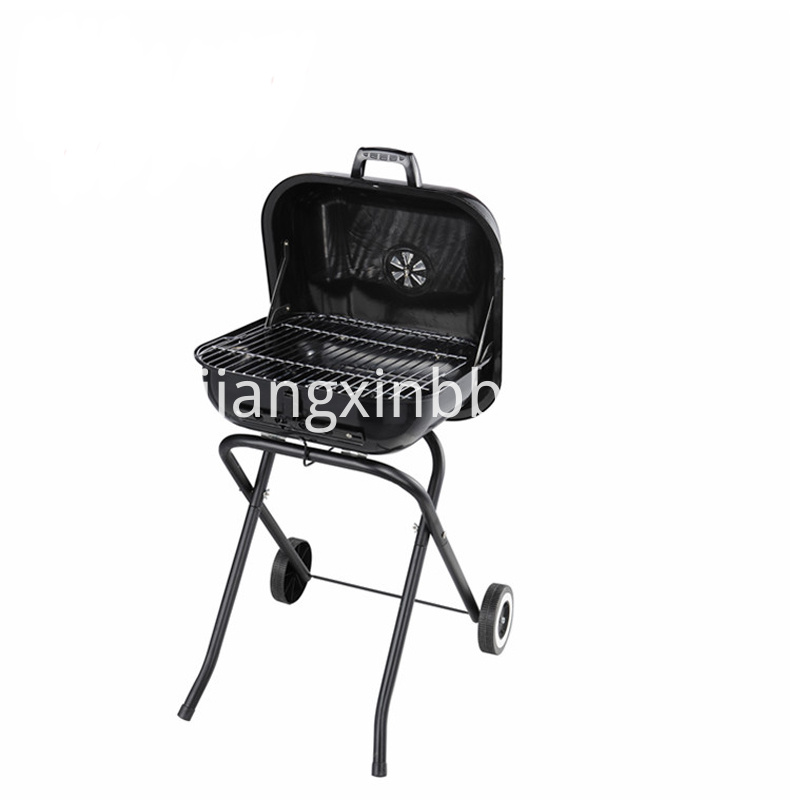 18 Square Folding Charcoal Grill Lid Open View
