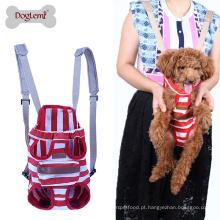 Cão de estimação gato lona listra no peito saco de portador do animal de estimação, todas as pernas para fora frente estilo duplo ombro mochila cão