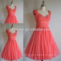 Real photo!Cute a line v neck cap sleeve pleats chiffon coral bridesmaid dress brides maid dress JBD035