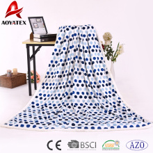 china manufacture wholesaler thick printed dot micromink blanket with sherpa