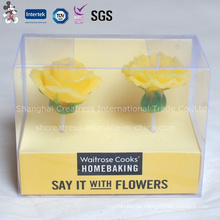 Good-Looking Flower Shaped Candle with PVC Box Packing