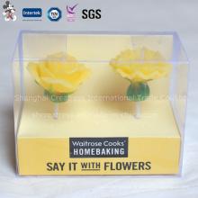 Vela em forma de flor de boa aparência com embalagem de caixa de PVC