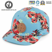 2016 Beautiful Flower Sky Blue Hip-Hot Snapback Cap with Logo