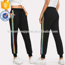 Rainbow Striped Side Sweatpants Manufacture Wholesale Fashion Women Apparel (TA3071P)