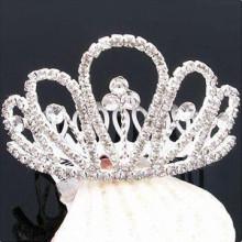 Fashion metal silver plated crystal tiara hair barrette