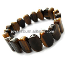 Tigereye gemstone Oval Spacer beads stretch bracelet