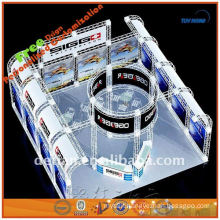 trade show kiosk with indoor lighte display banners