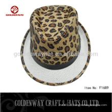 Chapeau de chapeau fedora motif imprimé léopard pour gros