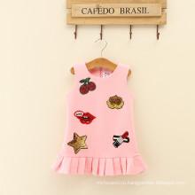 Взрослый a-линия платья девушки розовый рябить одежда Рождественский зимний изношенность одежды для осени дочерей и мам одежда
