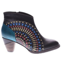 Western Inspired Colorful Pattern Leather Ankle Boots