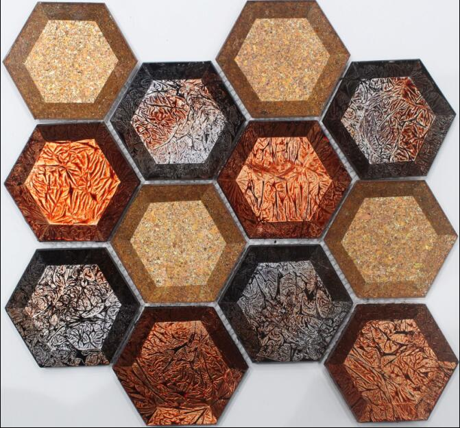 Golden Foil Cover Hexagon Glass Mosaic