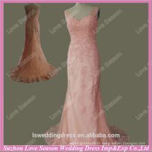 RP0034 Fábrica custome real venda quente vestido de noite algodão spandex laço appliqued frisado ver através de volta nude laço vestido de noite