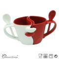 Tazas de cerámica de 11 onzas con cuchara