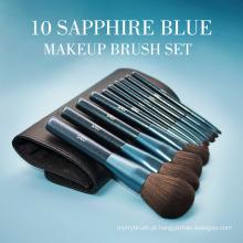 10pcs glitter safira azul kit escova cosmética saco