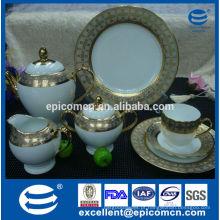 Porcelana Atacado café conjunto paquistão banhado a ouro chá ware servindo conjunto