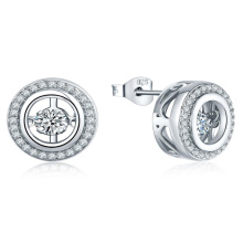 Micro Setting CZ 925 Silver Dancing Diamond Earring Jewelry