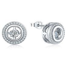 Micro Set CZ 925 Silver Dancing Diamond Earring Jewelry