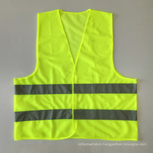Cheap promotional fluorescent yellow orange safety vest with reflective tape