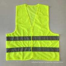 Cheap promocionais laranja amarelo fluorescente colete de segurança com fita reflexiva