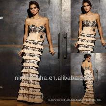 Sweetheart leichte Meerjungfrau handgemachte Blume abgestuft Rock schwarzes Spitze-Hochzeits-Kleid / Brautkleid-Hochzeits-Kleid-Mutter-Kleid