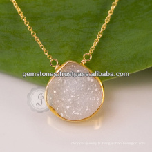 Druzy Gemstone Collier en argent sterling 925