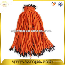Braided pp handbag handle rope with transparent plastic tip factory sirectly shipping