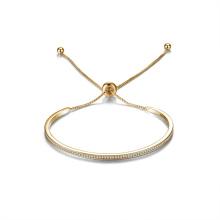 Brazalete ajustable de la barra de brazalete 14k Brazalete de zirconio plateado de oro