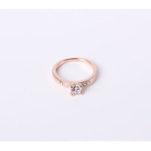 Simple Jewelry Ring with CZ Stone and Rhinestone Rose Gold Plated