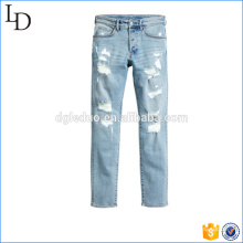 Wholesale ripped skinny factory scratch washed jeans