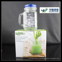 450ml tarro de masón de cristal cuadrado con manija vidrio Jar de beber