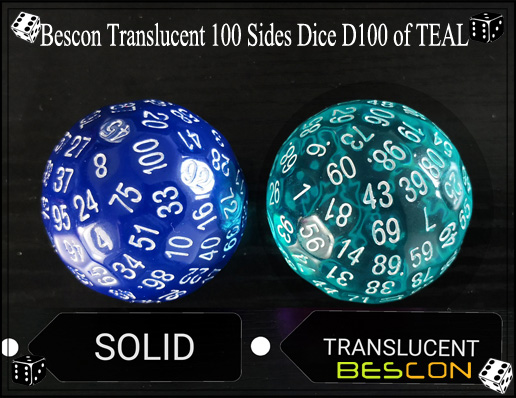Bescon Translucent 100 Sides Dice D100 of TEAL-4