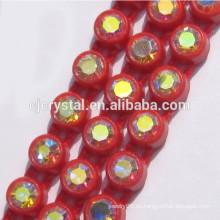 Guarnición plástica del rhinestone de la fila de la sola fila al por mayor, cinta del rhinestone del diamante para adornar