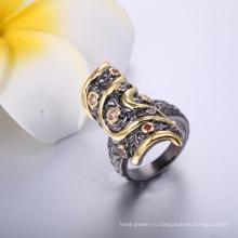 Оптовая торговля ювелирные изделия черный посажено кольцо женщин длинные золотые и черные кольца дешевой цене