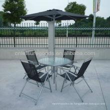 6er Set Metallmöbel im Freien mit Regenschirm