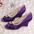 Sepatu Royal Blue Evening Wedge Heel