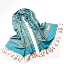 Мода Обратимые цвета вискоза пашмины шаль Пейсли Jaquard шаль Шарф женщина