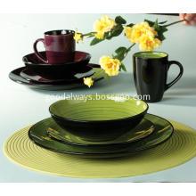 4 people handpainted 2 colors dinnerware sets