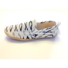 Mens billig gefälschte Jute Sohle Espadrilles mit gedruckten Leinwand Slip auf flachen Schuhe