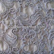 White Color Ribbon Embroidery Fabric