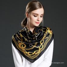 Lenço impresso de seda pura para mulheres