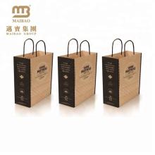La bolsa de papel de encargo reciclada al por mayor reciclada Brown Kraft de las compras de la comida del ultramarinos del fabricante de China con las manijas torcidas