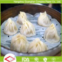 Papier à vapeur antiadhésif enduit par silicone de 4,5 pouces pour le vapeur en bambou