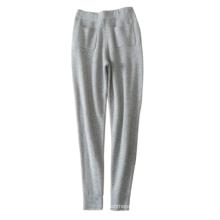 Pantalones casuales de las polainas que hacen punto de la cachemira de las mujeres 100% con la correa de cintura