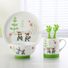 set of 5 cartoon design ceramic children dinner set with non-slip silicone base