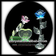 K9 Fleur en cristal rose et bleu