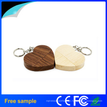 2016 Promocionais Gift personalizado coração de madeira USB2.0 Pendrive