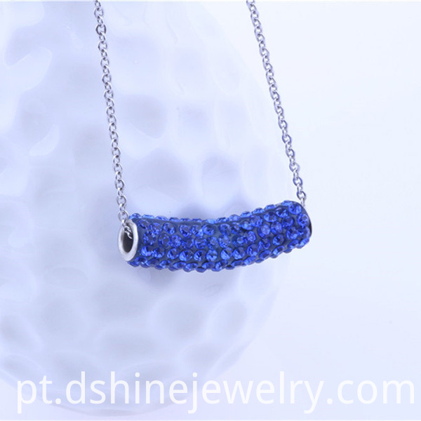 Rhinestone Tube Shamballa Pendant Necklace