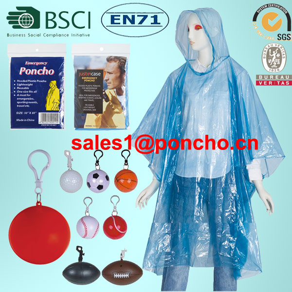 Bright blue rain poncho