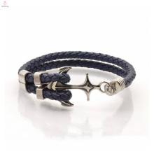 Bracelet en cuir tressé d'ancre en acier inoxydable